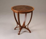 Sophia Side Table Description: Side Table was built using the construction technique of bent lamination. Solid wood and venner. Sapele and walnut burl top. Dimensions: H:26.00 x W:24.00 x D:24.00 Inches