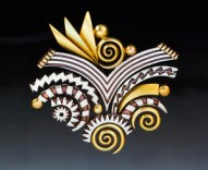 Pattern-Metal Fireworks pin