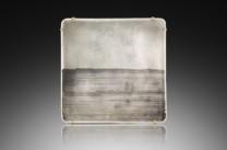 Sugimoto Pin/Pendant Description: Vitreous enamel, fine silver, 22K gold, oxidized silver.  Hand fabricated. Dimensions: H:3.00 x W:3.00 x D:0.50 Inches