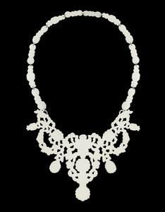 Category: Jewelry -  ASHLEY BUCHANAN -Iconic Decorative Necklace-Necklace hand-pierced from 20g brass then powder coated cream. Necklace design inspired by images found in historical jewelry.Dimensions: H:12.00 x W:6.50 x D:0.03 Inches