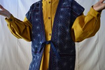 Description: hand stitched on indigo dye cotton vest and a turmeric dyed cotton to bright up the star design vest.Dimensions: H:25.00 x W:20.00 x D:1.00 Inches