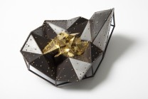 Description: One of a kind. Brooch. 23 kt gold leaf on welded copper and 18 kt granules.Dimensions: H:4.80 x W:3.30 x D:1.70 Inches