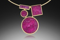 Description: Pendant; Ruby slices, 22k and 18k gold,fabricatedDimensions: H:3.00 x W:2.50 x D:0.50 Inches