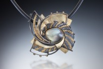 Description: hand woven and fabricated 22k, 18k, oxidized sterling and fine silvers, gray mabe pearl.Dimensions: H:2.25 x W:2.25 x D:0.25 Inches