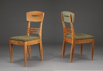Description: Dinning chairs in Cherry wood with upholstered seats. Chair backs are carved and painted.Dimensions: H:38.00 x W:17.00 x D:20.00 Inches