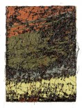 """Description: abstract embroidery """"painting""""rayon thread on linenDimensions: H:6.00 x W:4.00 x D:2.00 Inches"""