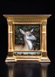 Description: Hand painted miniature. The piece is constructed of wood and water gilded using chalk gesso, clay bole and burnished 22k gold leaf. Painted in acrylics.Dimensions: H:3.75 x W:3.40 x D:0.60 Inches