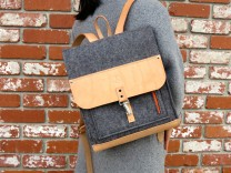 Description: Inspired by Japanese book bags, this urban backpack can carry a great deal. Features include 2 zippered exterior pockets, 1 interior zippered pocket, and a key fob.  There is also an interior waxed canvas  sleeve for your laptop. Adjustable leather straps allow for a custom fit.Dimensions: H:14.00 x W:12.50 x D:4.50 Inches