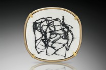 Description: Vitreous enamel, 18K gold, 22K gold, fine silver, oxidized silverDimensions: H:1.50 x W:1.50 x D:0.50 Inches