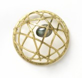 Description: Forged and fabricated 18k gold and South Sea pearl pinDimensions: H:1.50 x W:1.50 x D:0.75 Inches