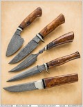 """Description: Legado de Acero means """"legacy of steel."""" The client provided one word to describe each of his five children. Each knife represents one child. All blades are damascus steel, handles are nickel silver, micarta, and desert ironwood.""""Joy""""""""Leader""""""""Dreamer""""""""Which""""""""Stubborn""""Dimensions: H:1.00 x W:2.00 x D:12.00 Inches"""