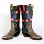 Description: Steel gray inlaid kangaroo tops, gray ostrich foot. This boot is a triad. The boot top extends all the way to the sole, giving additional room for the design and making it more visible to others. Some of my clients like to coyly hide the top design and others prefer to openly celebrate it.Dimensions: H:14.00 x W:12.00 x D:12.00 Inches