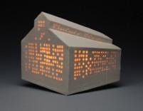 Description: Wall sculpture.Slab built porcelain.Translucent glaze.Electrical guts.Dimensions: H:12.00 x W:16.00 x D:10.00 Inches