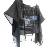 Description: Uses Japanese Antique Kimono Ro-Silk and Sha-Silk Fabric.Designed with Seams and moire.Black and Mid-night Blue.Dimensions: H:23.00 x W:36.00 x D:0.50 Inches